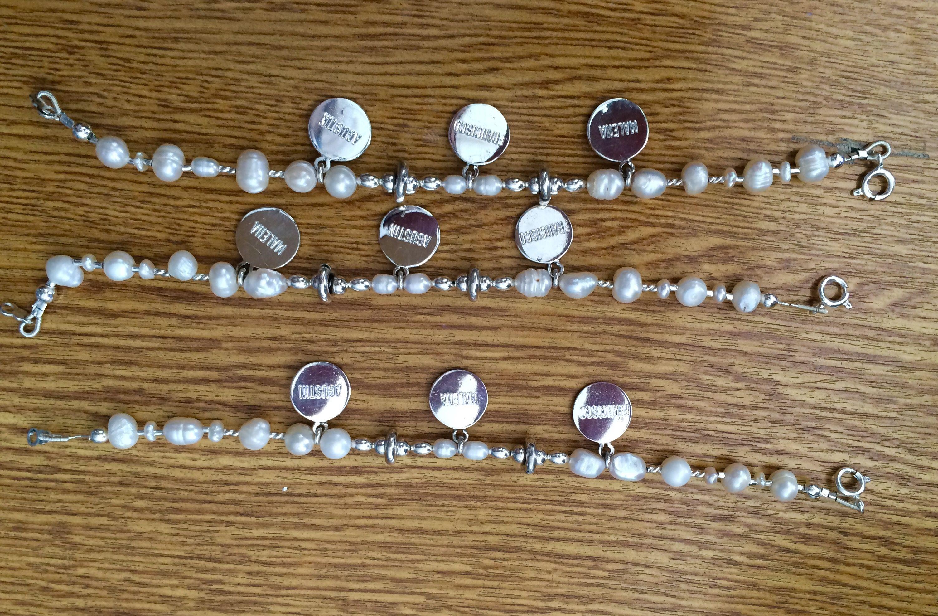 Pulsera con separadores en Plata 950 y perlas barrosas