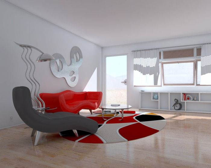 Wohnzimmer Einrichten Beispiele Rotes Sofa Grauer Sessel Runder Teppich  Minimalistische Einrichtung