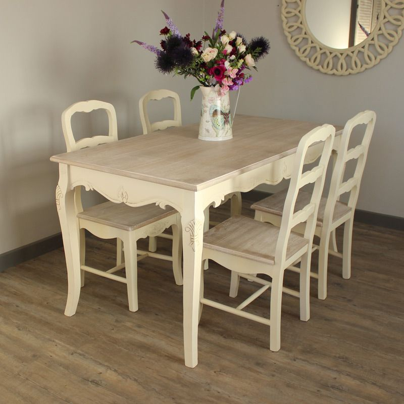 furniture bundle cream large dining table and 4 chairs wooden tops