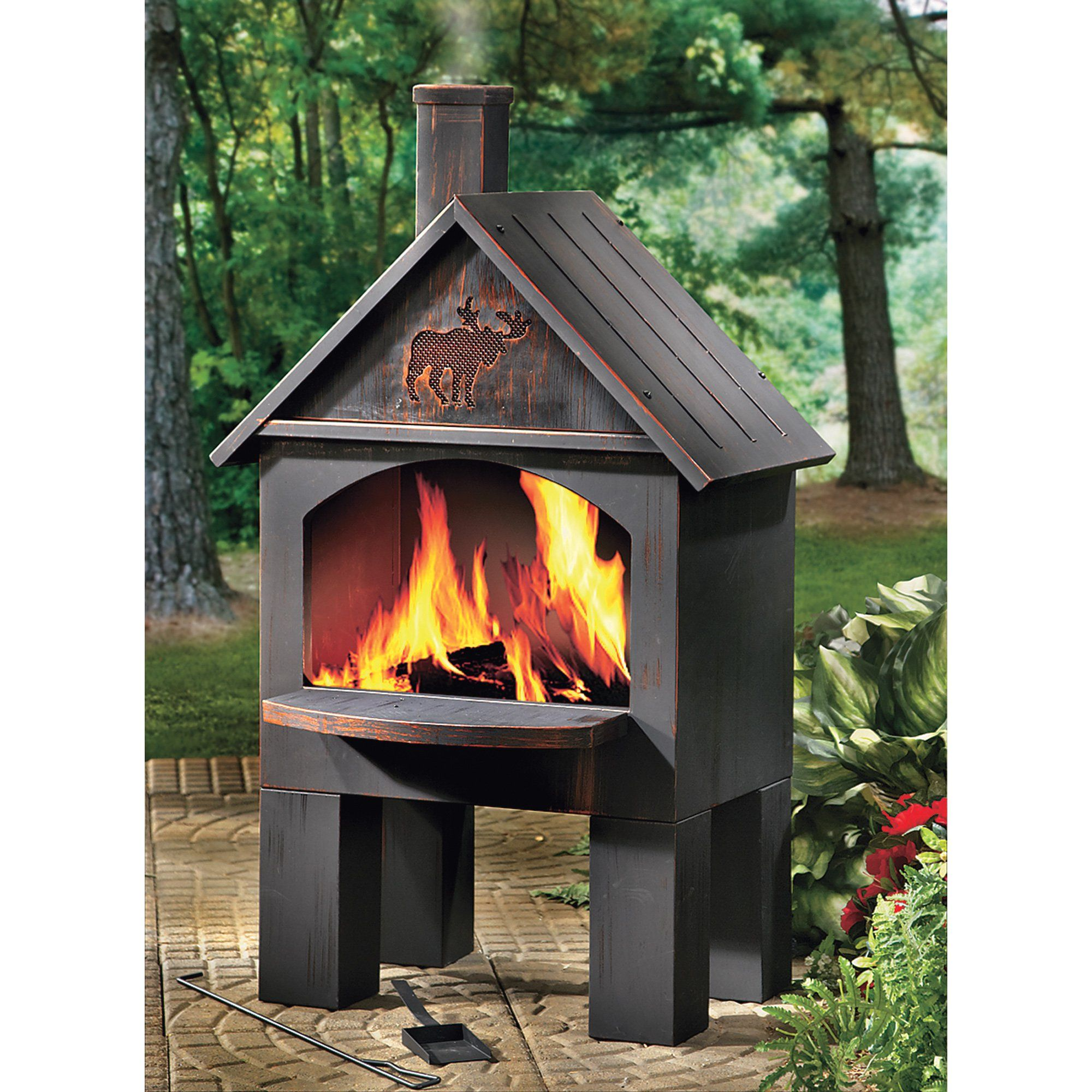 Cabin Style Outdoor Cooking Steel Chiminea Www Kotulas Com Free Shipping Fire Pit Patio Fire Pit Backyard Outdoor Fireplace Kits