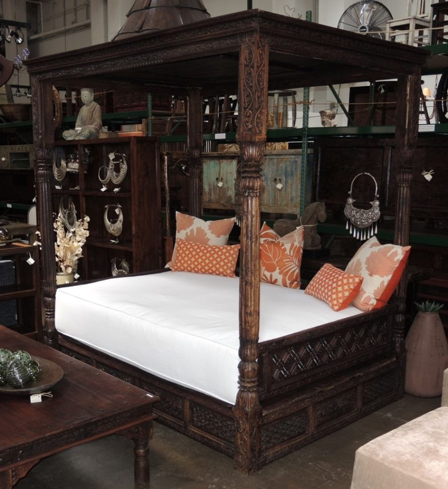 Vintage Indian carved canopy bed with custom mattress - Beds & Headboards