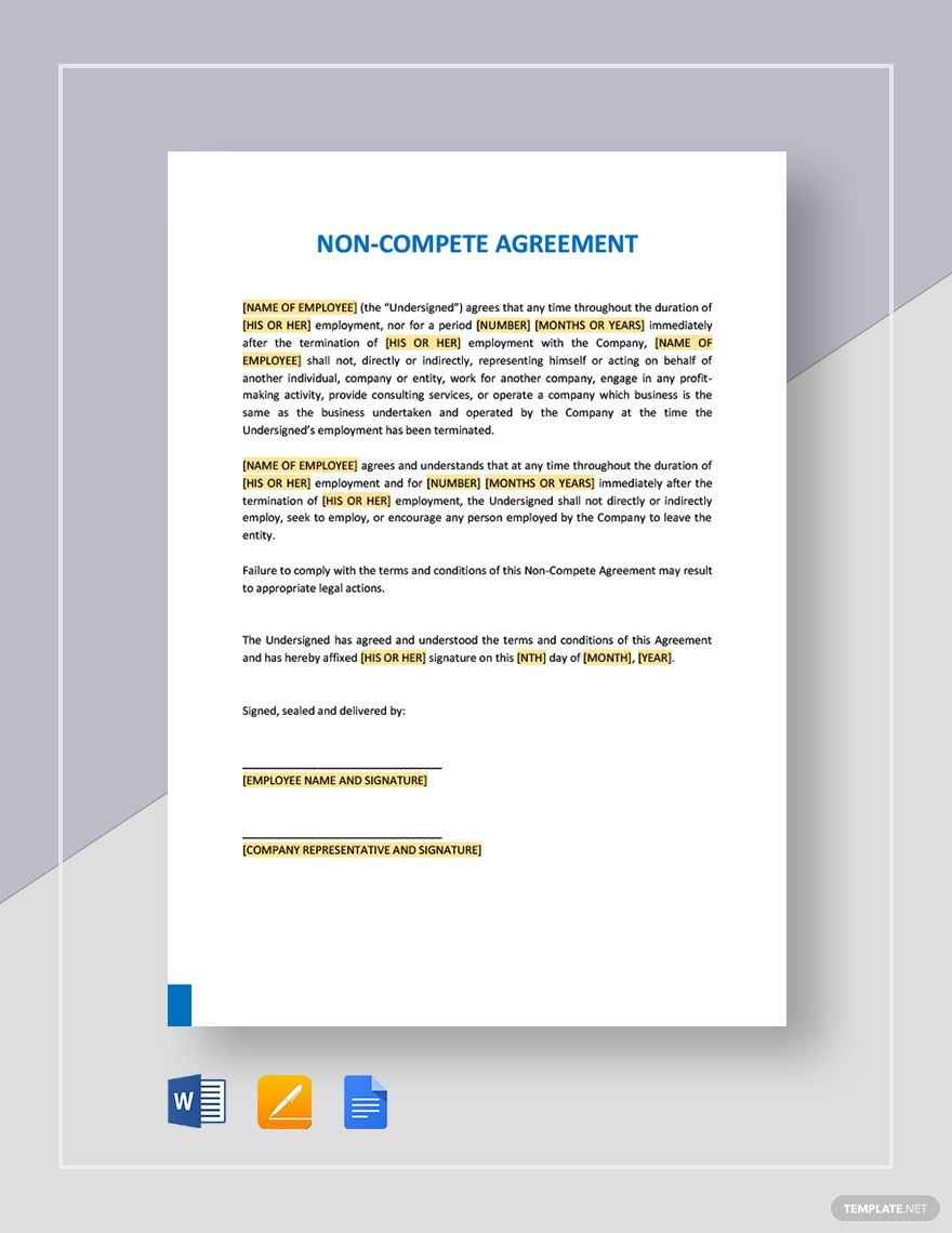 Sample Non Compete Agreement Template Ad Sponsored Compete Sample Template Agreement Competing Templates Word Doc Non compete agreement template free