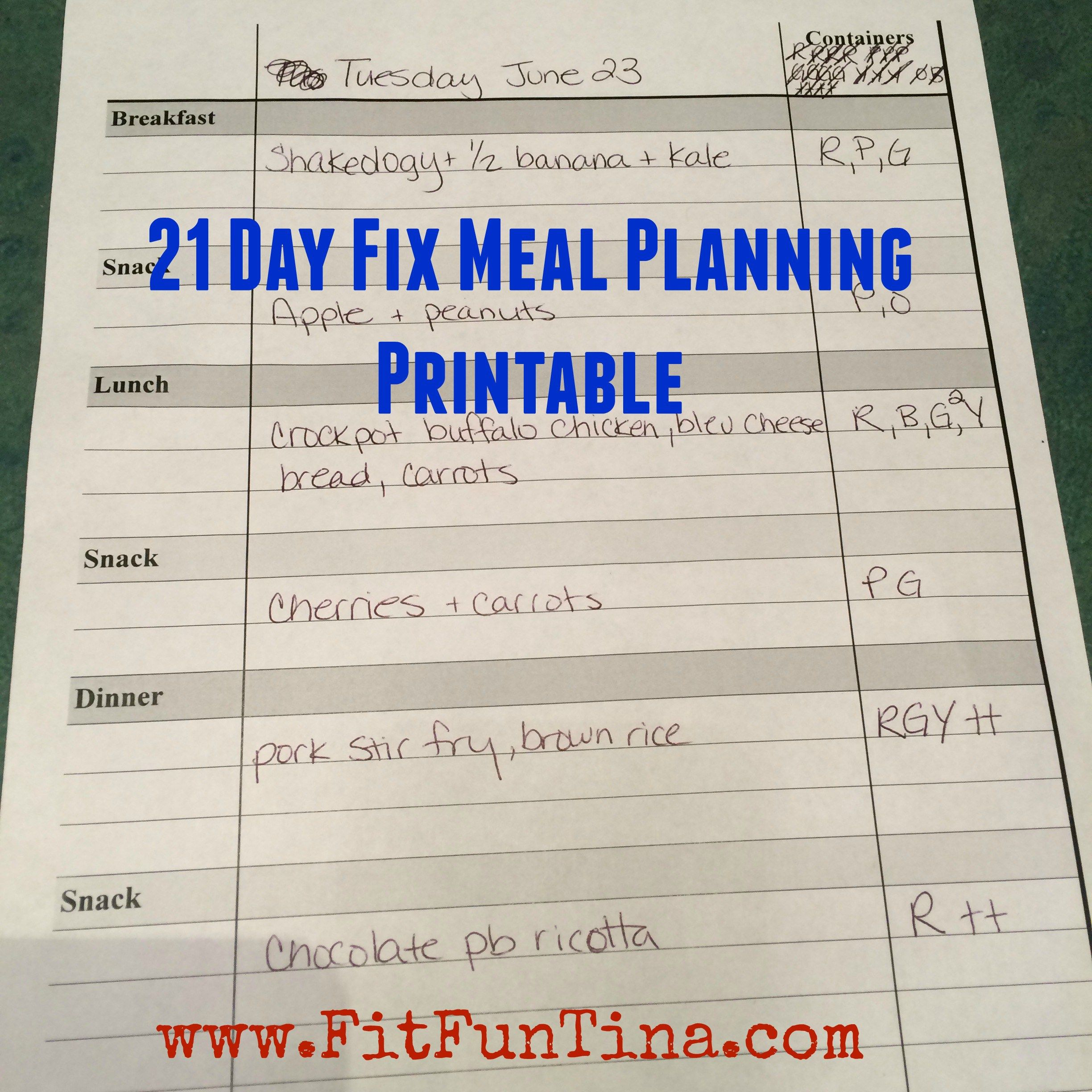 21 Day Fix Meal Planning Printable