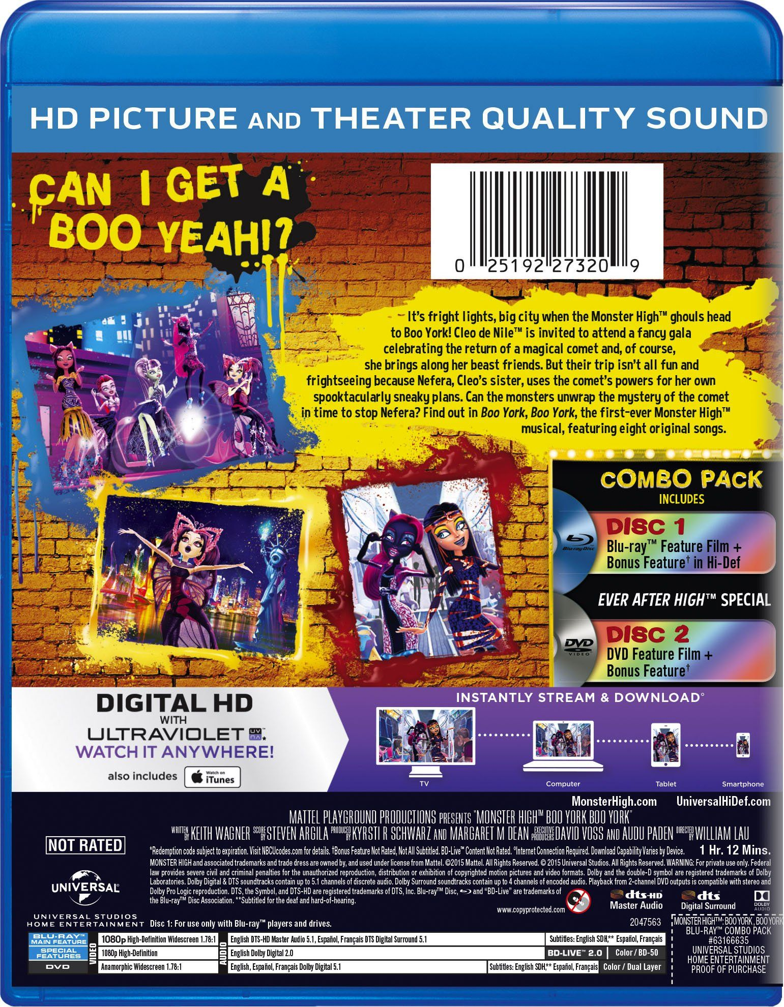 Monster High: Boo York, Boo York (Blu-ray + DVD + DIGITAL HD ...
