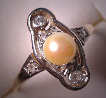 Antique Pearl Diamond Wedding Ring Rare Victorian Mine Cut. $985.00, via Etsy.