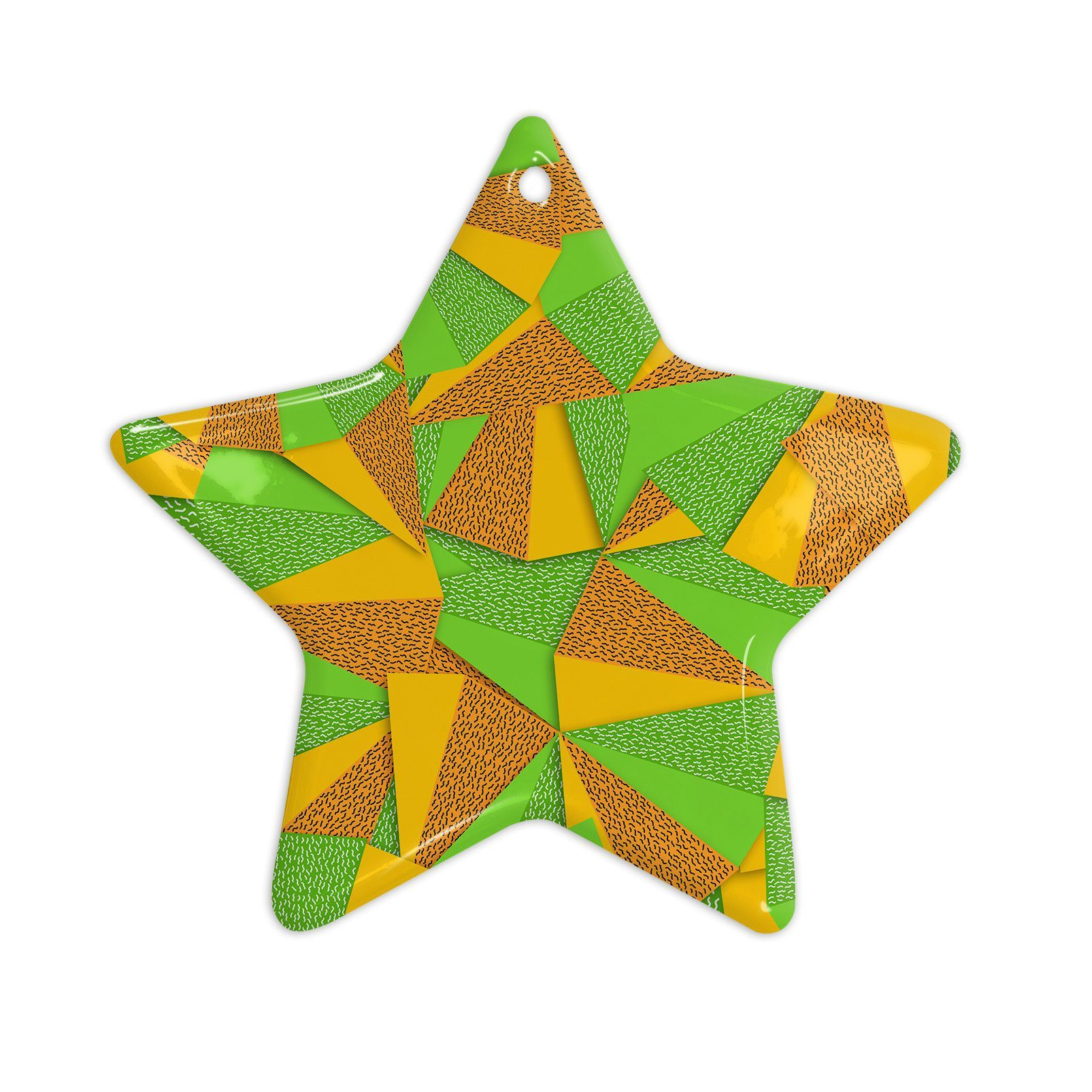 "Danny Ivan ""This Side"" Green Yellow Ceramic Star Ornament"