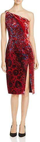 New Elie Tahari Carter Women's Velvet Floral Print One Shoulder Cocktail Dress online - Lovetopfashion