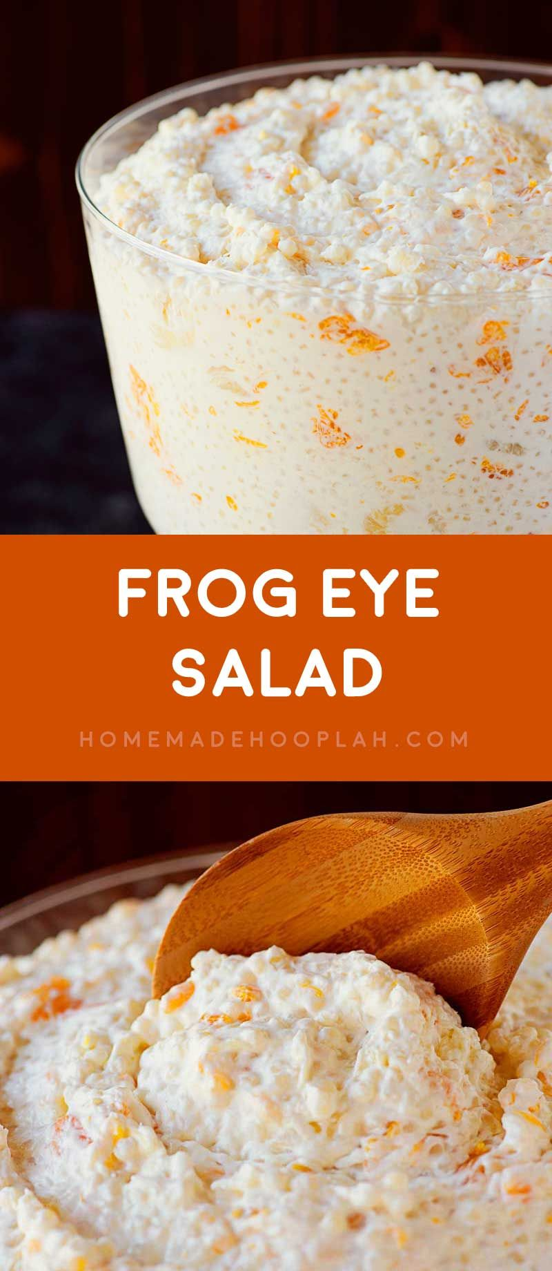 Frog Eye Salad! A creative fruit salad that combines savory acini de pepe pasta, sweet fruit, and a creamy fruit juice custard. A unique treat for all parties or holidays! | HomemadeHooplah.com #fruitsalad