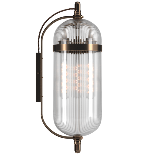 Clear Ribbed Glass Wall Lantern Pill Shaped Clock Inspired Aston Industrial Retro Steampunk Style Wall Lights Art Deco Wall Lights Lamp