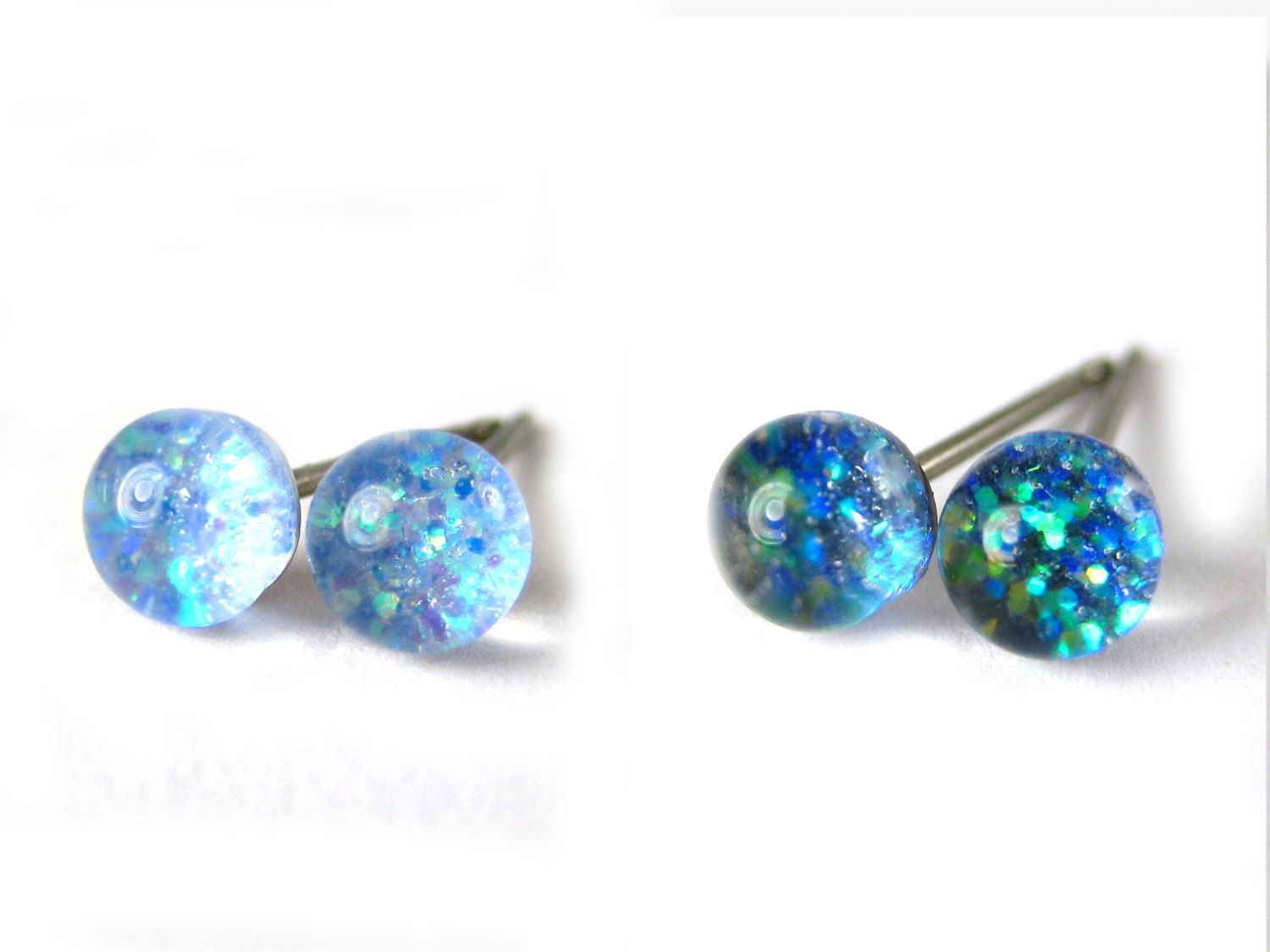 d69b39243 Lions Breath Glitter Glass Stud Earrings, Tiny 5mm Hypoallergenic Studs,  Pure Titanium Posts, Surgical Steel, Irredescent Sparkle, Canadian by  Resiness on ...