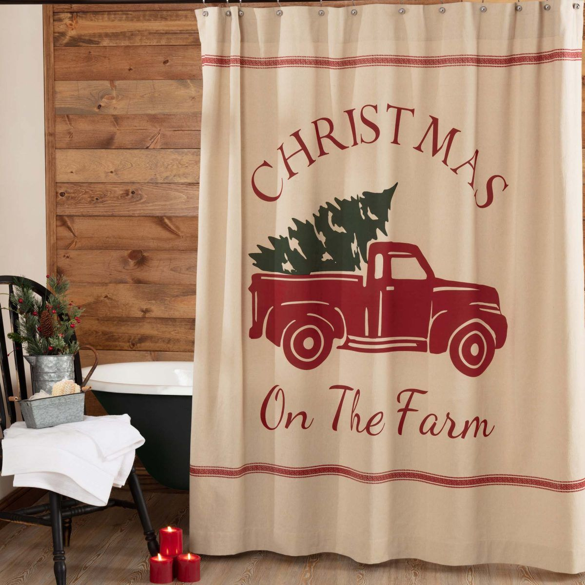 Christmas Tree Farm Printed Shower Curtain Christmas Bathroom