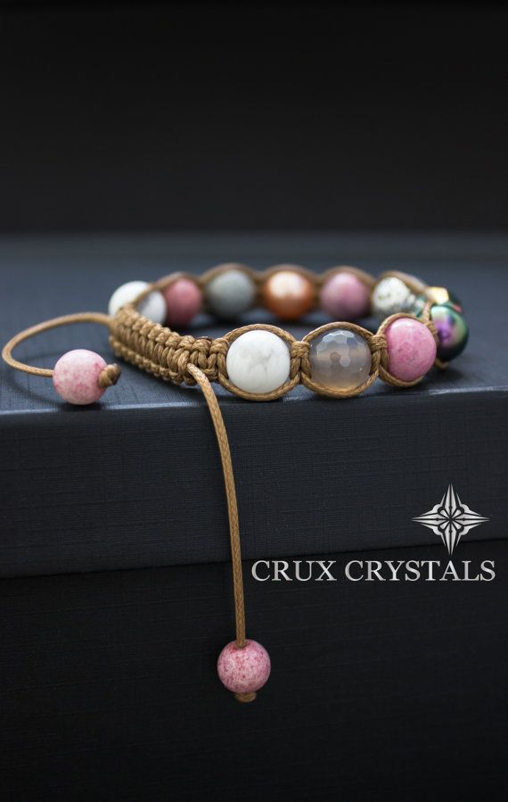 Photo of TULIP Rhodonite Gemstone Beaded Bracelet, Womens Shamballa Bracelet, Swarovski Elements, Natural Stone, Macrame Wrap Bracelet, Boho Stack