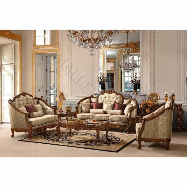 Royal Hand Carved Chenille Fabric 3Pc Sofa Set  Renaissance Adorable Homey Design Living Room Sets Decorating Design