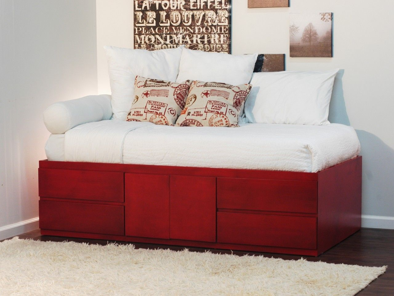 extra long twin storage bed 4 drawers & 2 doors in birch | twin