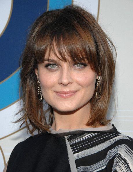 Hairstyles For Medium Length Hair Bangs : Emily deschanel medium straight cut with bangs deschanel