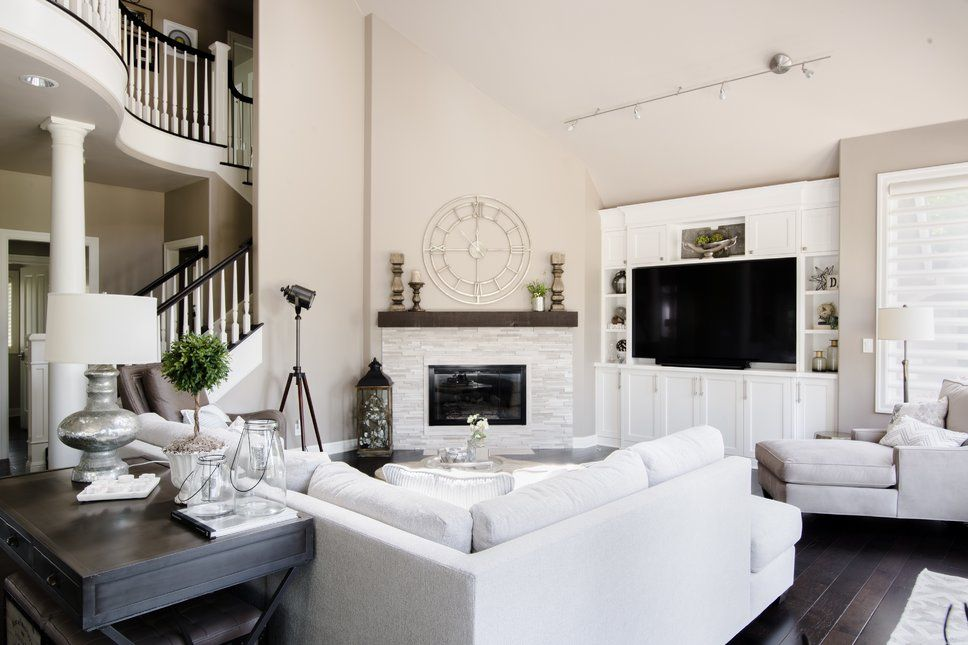 Modern Farmhouse Living Room With Large Sofa And Fireplace
