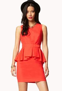 a07cf4dd773 bright orange peplum sheath dress by Forever 21 only  24.80 online ...