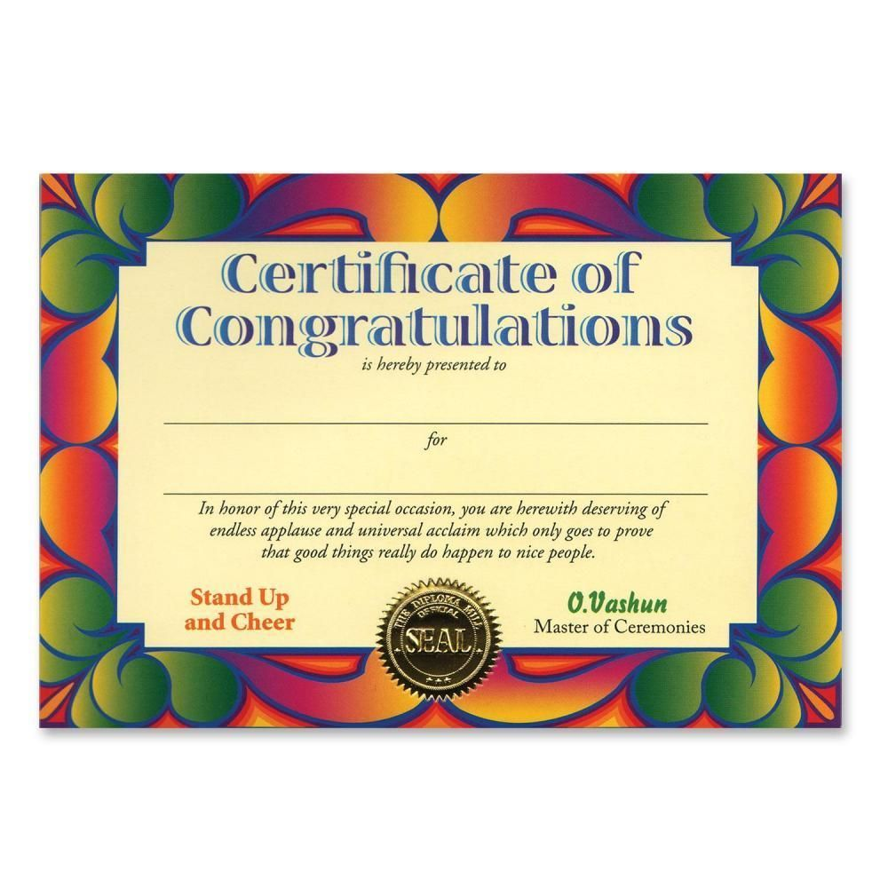 Certificate Of Congratulations Certificate Greeting Ct