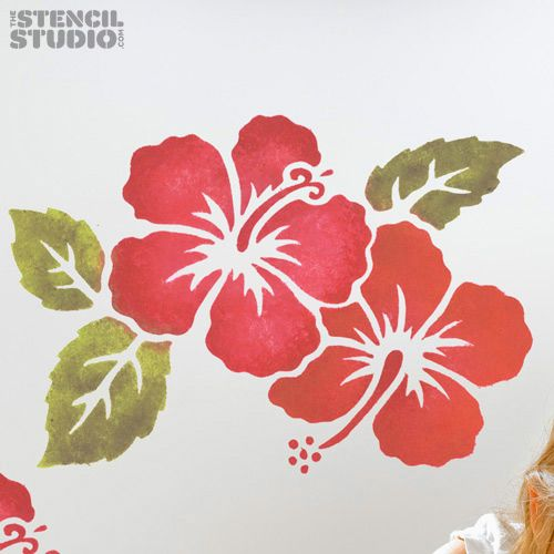 Hibiscus With Leaves Stencil Flower Stencil Leaf Stencil Flower Embroidery Designs