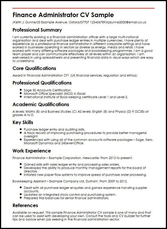 Administration Manager resume, Sample resume, Resume