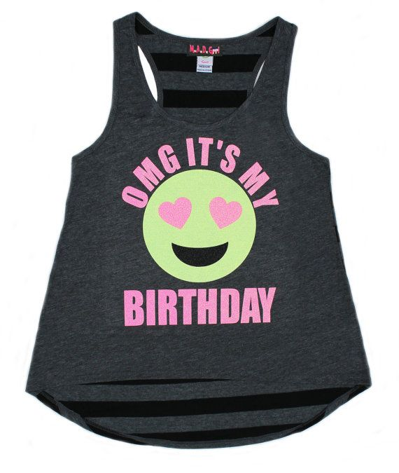 Birthday Shirt Girls Emoji Glitter Number