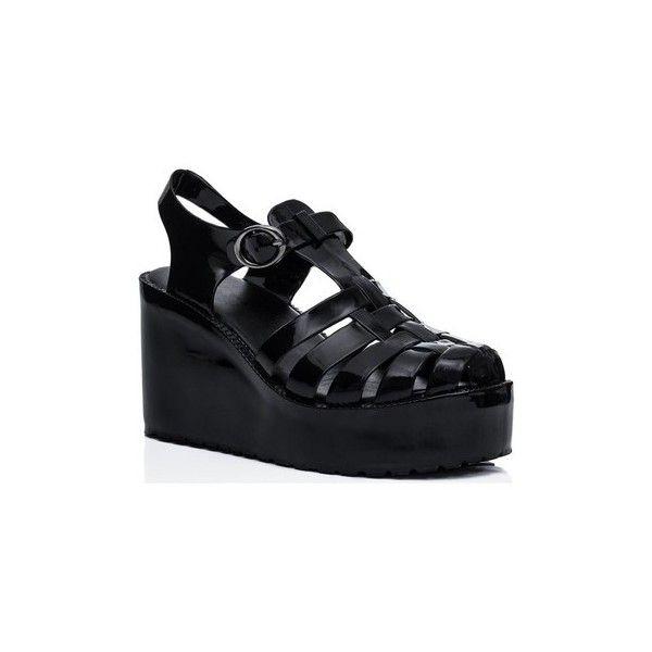 Spylovebuy VISOR Wedge Heel Buckle Flatform Jelly Platform Sandal... (£17) ❤ liked on Polyvore featuring shoes, sandals, black, women, platform sandals, wedge heel sandals, black wedge heel sandals, wedges shoes and black jelly sandals