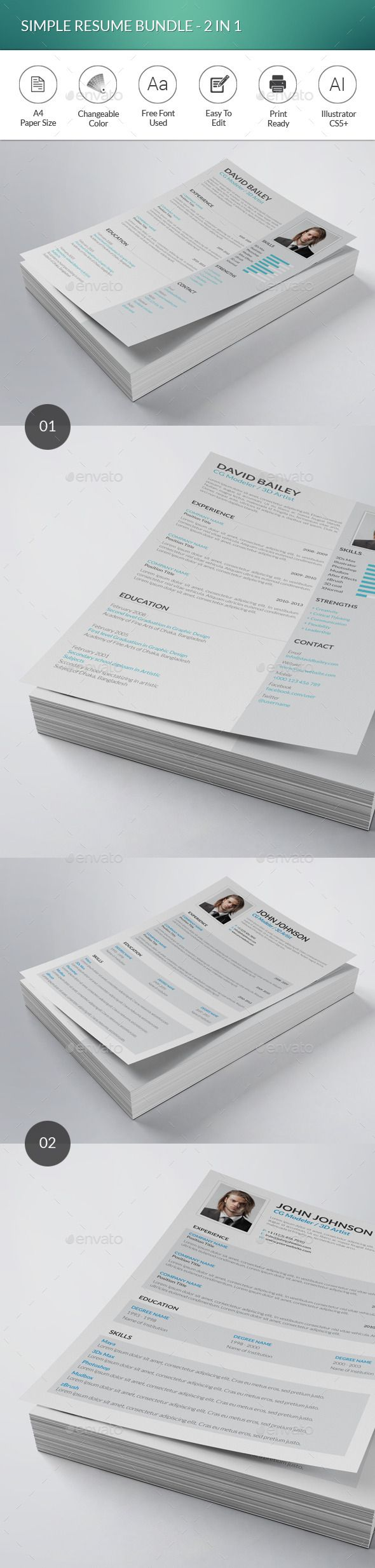 What Font To Use On Resume Simple Resume Bundle  2 In 1  Simple Resume Cv Resume Template .