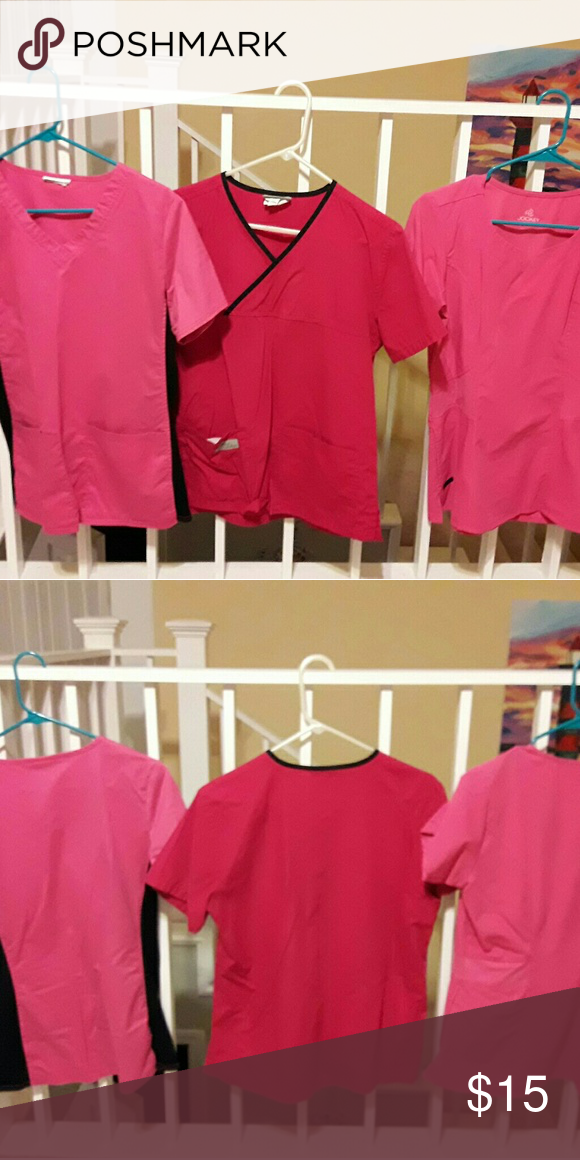 431d53f8148 🌷Pink scrub tops: $5 each All in good condition. Smoke/pet free. Brands:  Jockey, Urbane Scrubs (stains on front), Cherokee (tag cut off). $5 each.