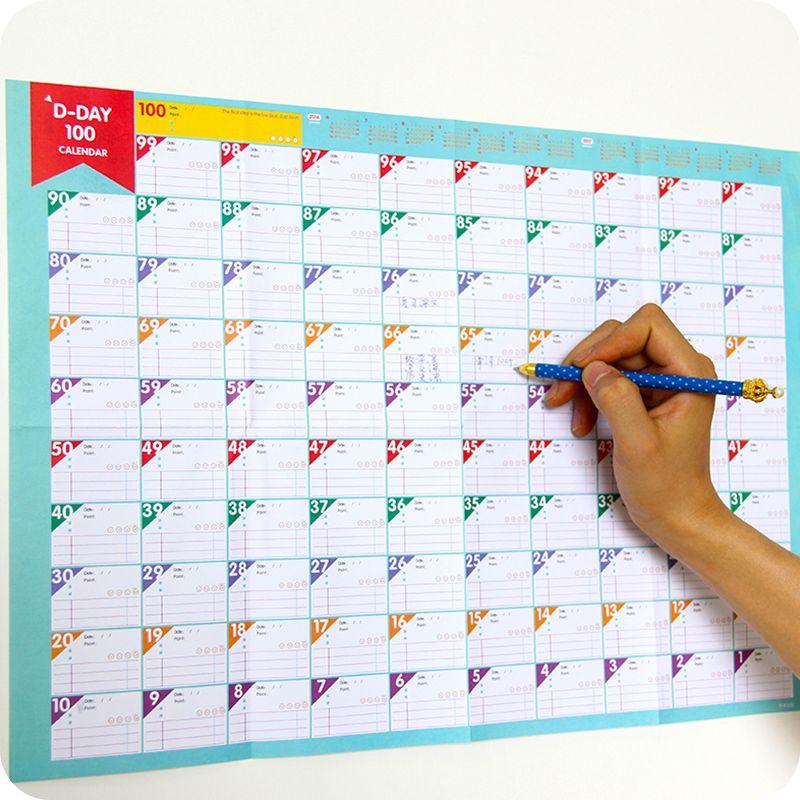 1pcs 100 days Countdown Calendar Schedule Learning Schedule Goals