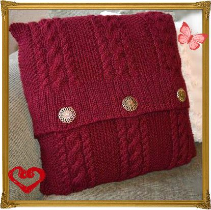 Knitting Pattern Pdf Knitted Cable And Button Cushion Cover Aran