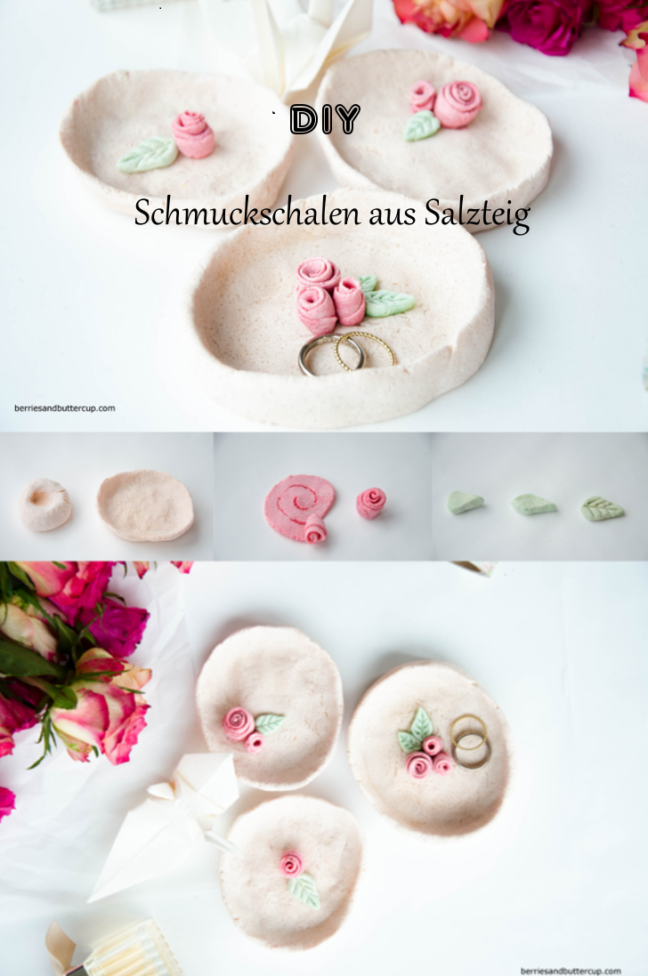 diy schmuckschale aus salzteig mit blumenverzierung basteln pinterest salzteig blumendeko. Black Bedroom Furniture Sets. Home Design Ideas