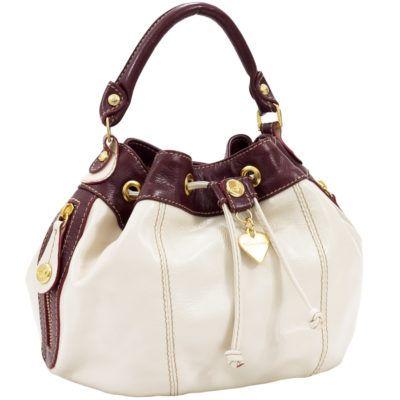 modelos de bolsas anandra branca com marrom e detalhes em dourado