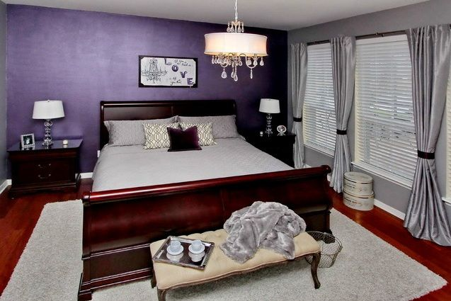 Purple Vintage Bedroom With Grey Bedding Sets Decolover