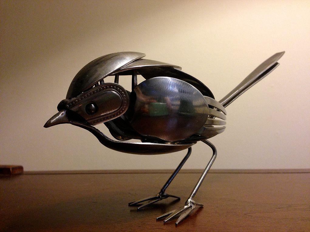 airtight-1   SPOON BIRDS   Cutlery art, Metal art, Metal birds