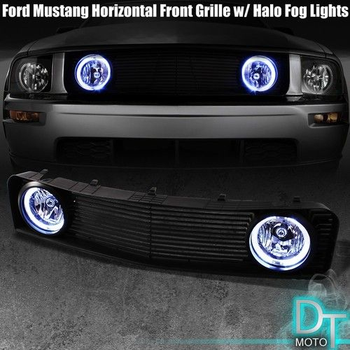 05 09 Ford Mustang V6 Sport Front Grille Grill Halo Fog Lights Lamps W Switch Ford Mustang V6 Mustang Accessories Mustang