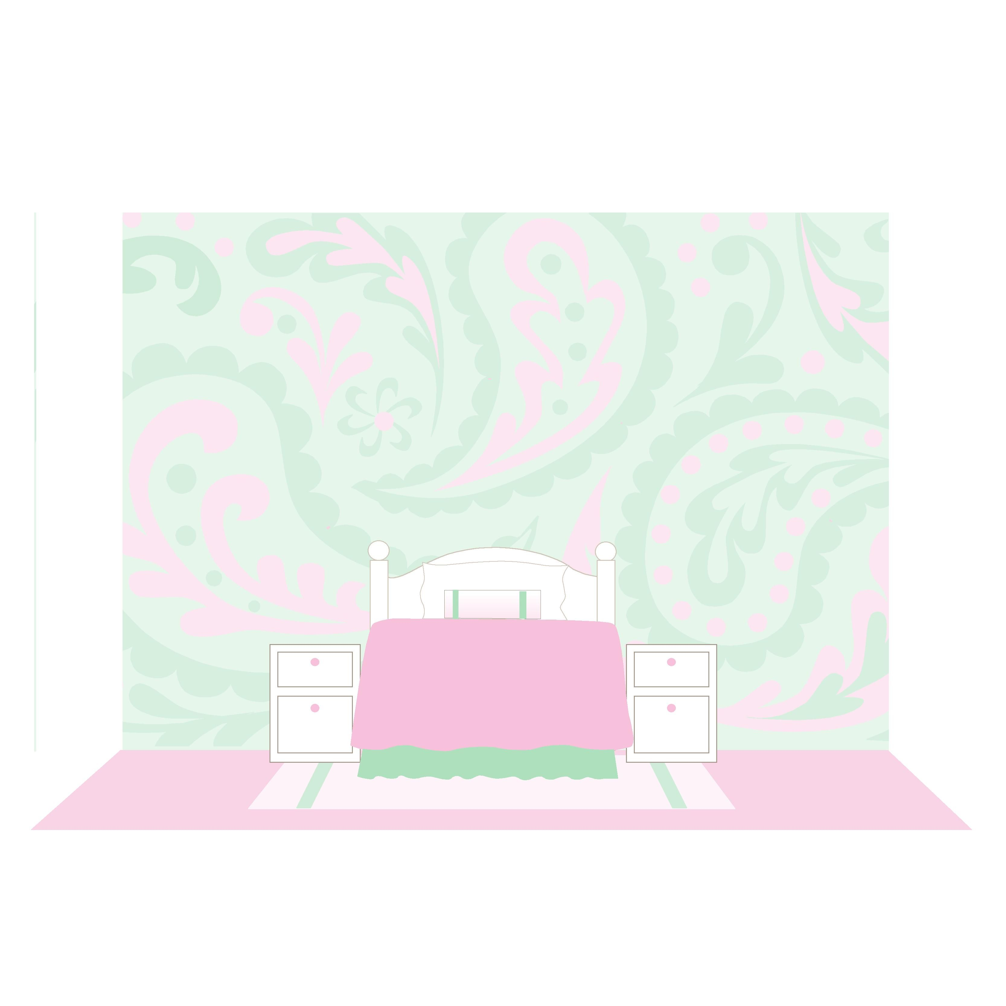 Great Palsley Paint By Number Wall Mural. Choose Pinks And Greens For Your Little  Girls Room.