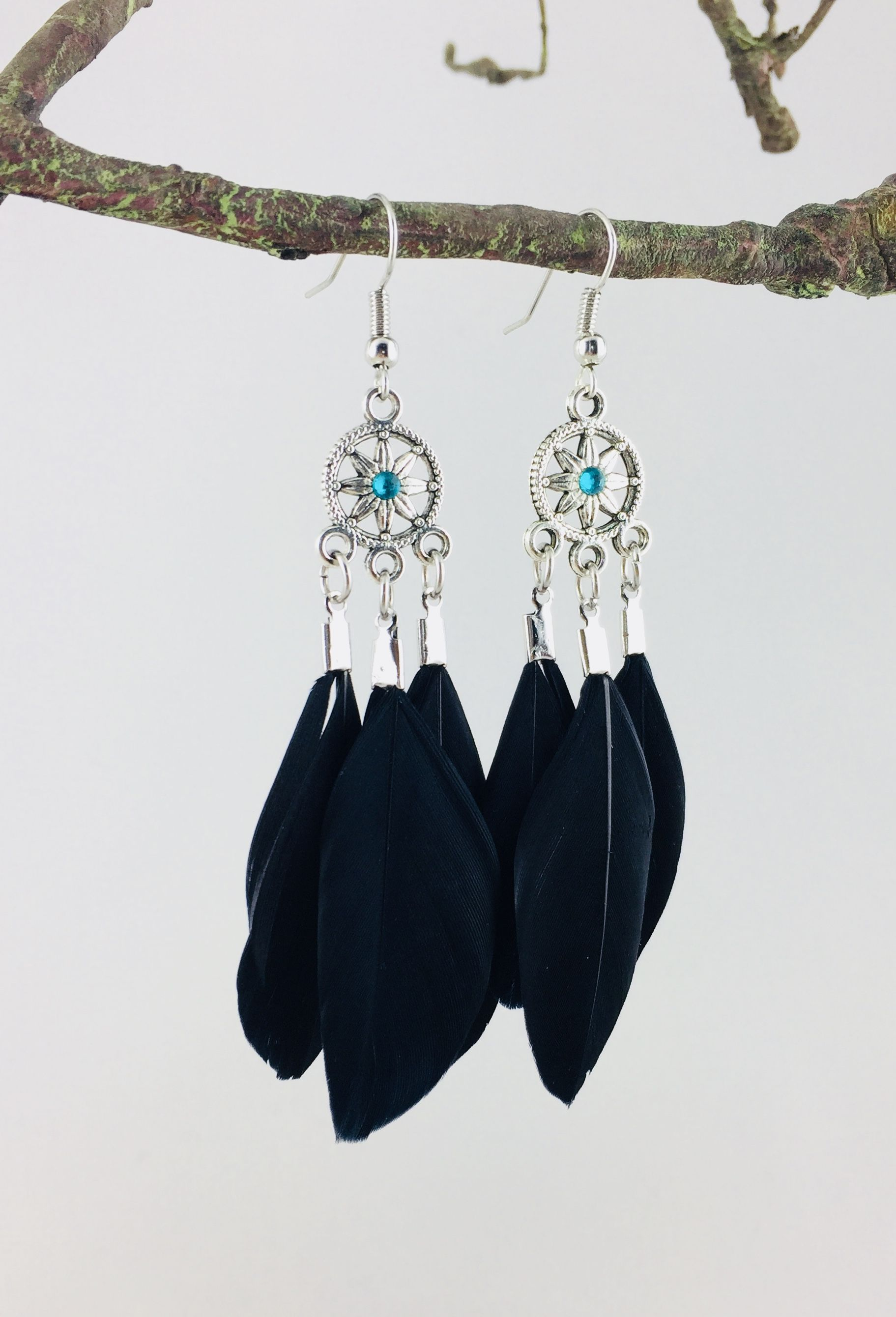 sans nickel Boucles d/'oreilles plumes naturelles perles turquoise métal argent