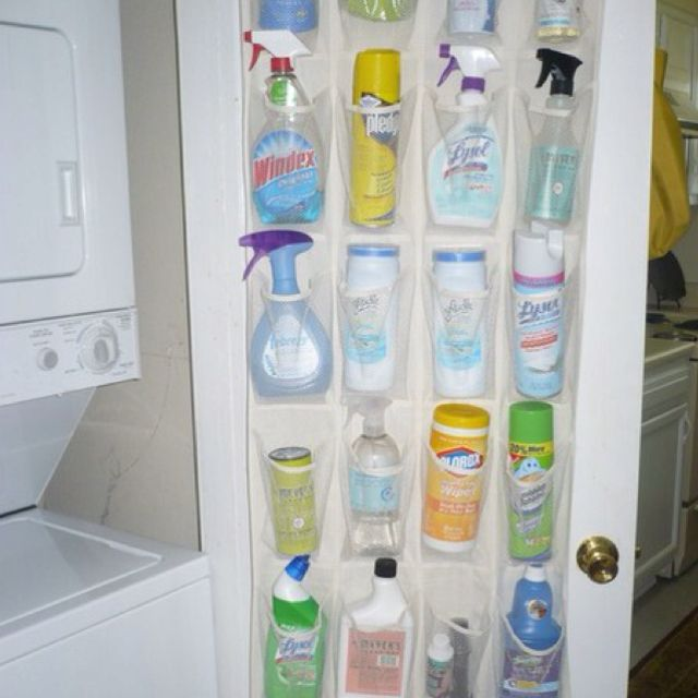 Simple shoe organizer can free up an entire cupboard and gives easy and fast access to all of those things we use around the house-I love this idea!