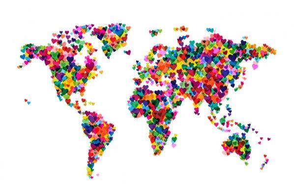 carte du monde art design Carte du monde Coeur sur plexiglas (avec images)   Art carte du