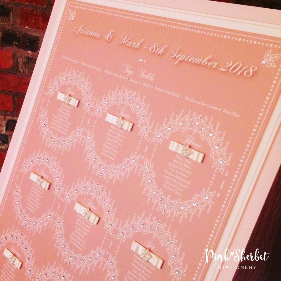 Art Deco Wedding Table Plan, Opulent Gatsby Luxury Seating Plan, Seating Chart, Pink, Pearl and Sparkle.