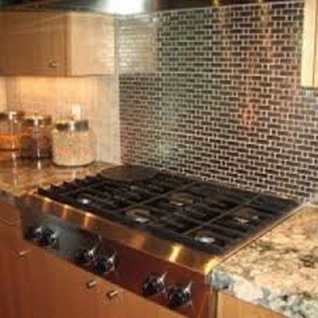 kitchen with black tiles