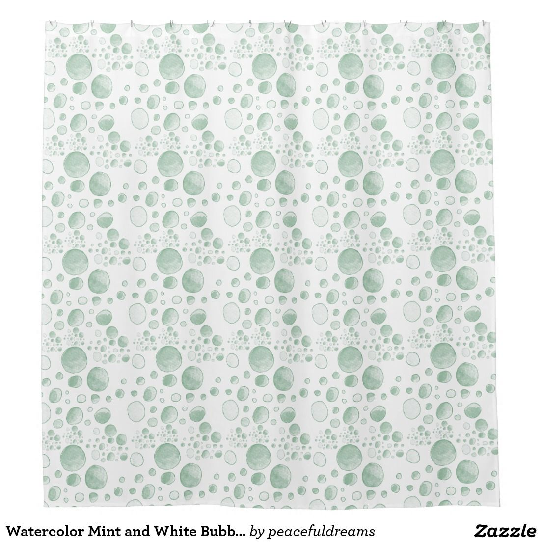 Watercolor Mint And White Bubble Dots Shower Curtain Akvareller - Mint green shower curtain