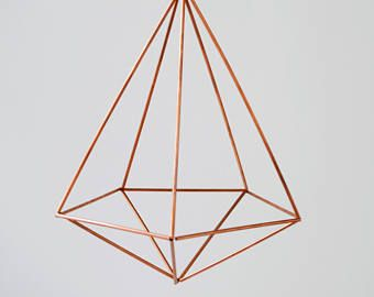 copper himmeli 5 sided medium geometric art copper planter
