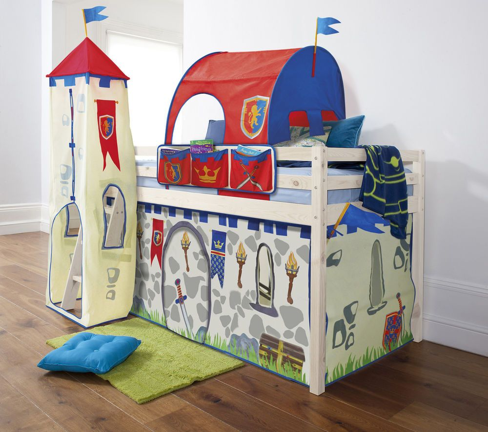 Cabin Bed Mid Sleeper Pine Kids Bed 57 with Knights u0026 Castles Tent & Cabin Bed Mid Sleeper Pine Kids Bed 57 with Knights u0026 Castles Tent ...