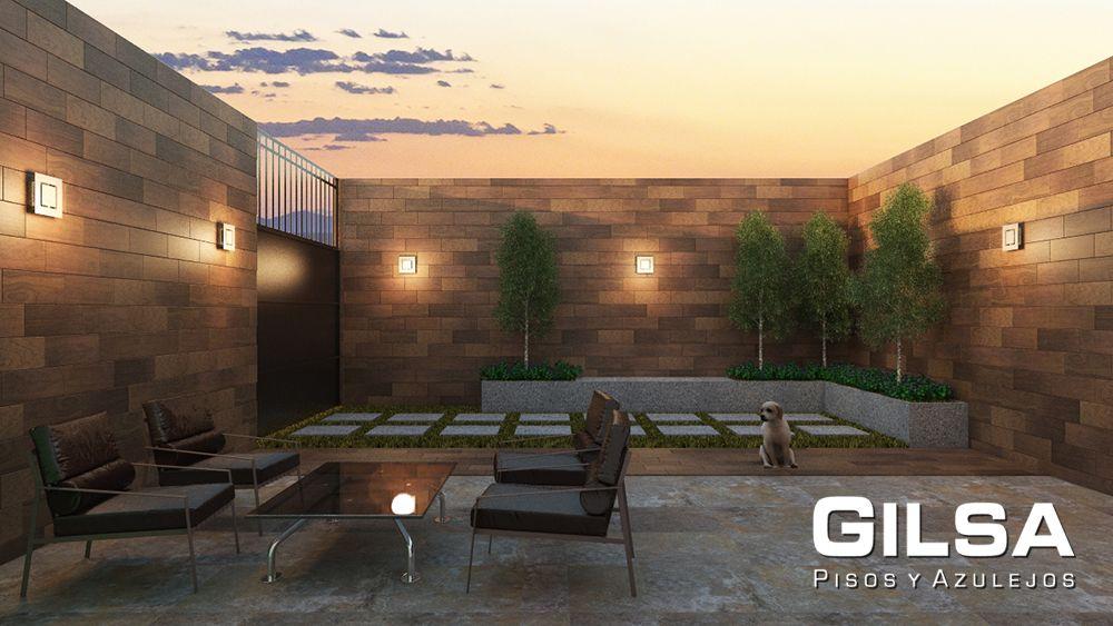 Patio de estilo r stico moderno materiales utilizados for Materiales para patios exteriores