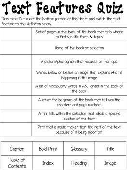14+ Cool text features worksheet 3rd grade information