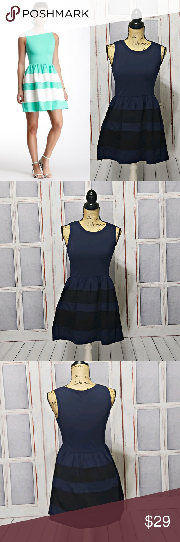 Clothing, Shoes & Accessories Euc!!!!! Dresses Love Ady Sleeveless Dress Black And Gray Striped Size Medium
