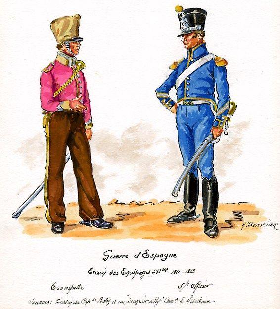French; Train de Equipages, Trumpeter & Sous Officier in Spain, 1811-13 by H.Boisselier