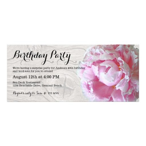 Modern long birthday party invitations have a pretty pink peony