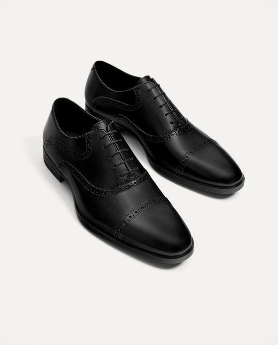 Zapato Negro Zara 1 Piel Imagen Calzado Vestir Picados De EBpCq